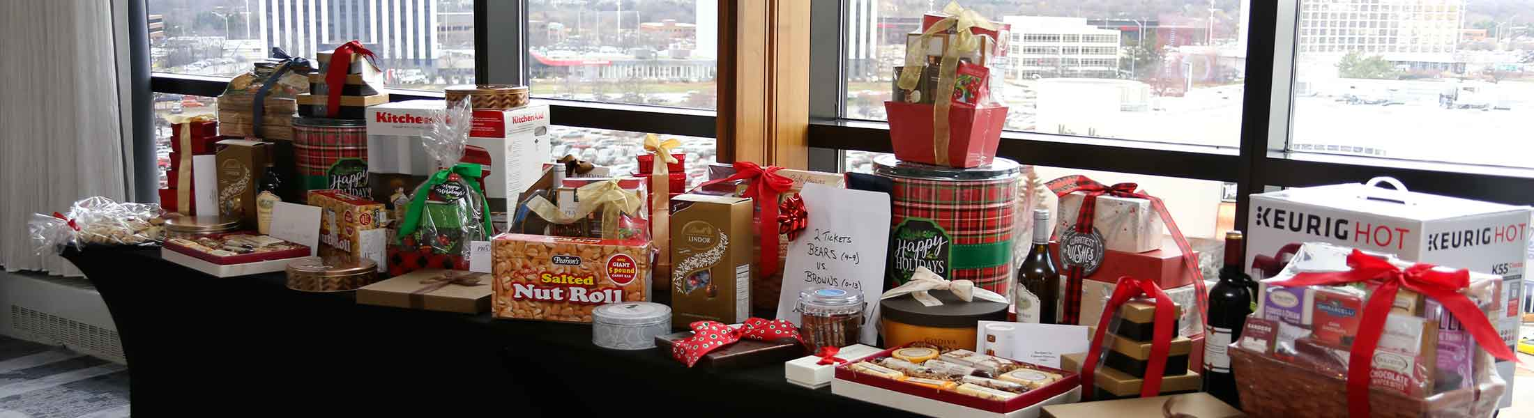 A table full of raffles prizes at the annual PBA Christmas holiday luncheon